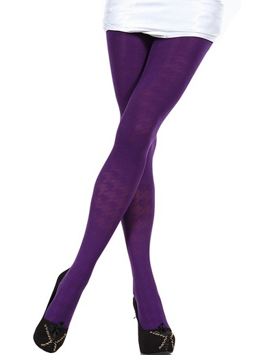 Pierre Cardin 2'Li Desenli Külotlu Çorap  Mor